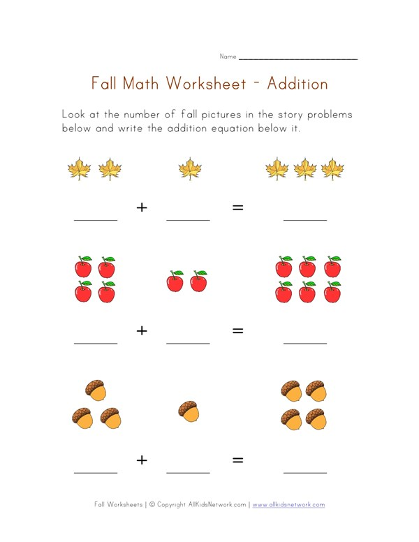 Fall Themed Math Worksheet - Addition Equations | All Kids Network