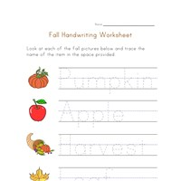 handwriting fall worksheet