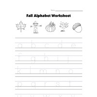 fall tracing lowercase letters worksheet