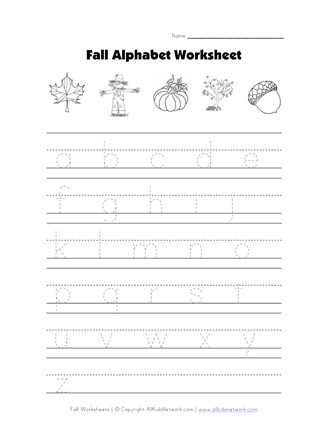 Fall Tracing Lowercase Letters Worksheet | All Kids Network