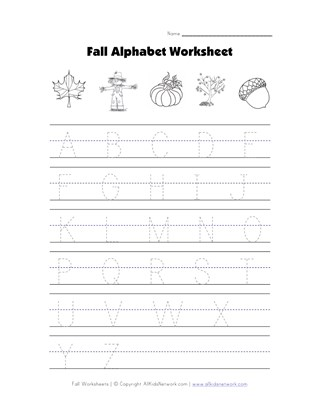 fall letter tracing worksheet