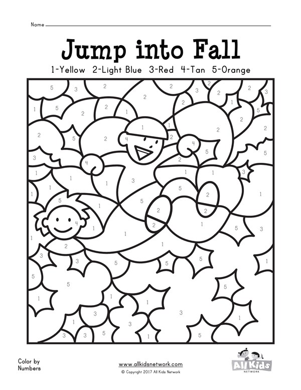 fall color by numbers worksheet all kids network