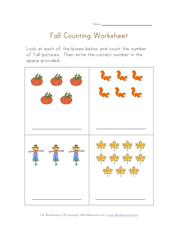 Fall Counting Practice Worksheet | All Kids Network