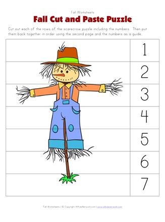 Fall Cut And Paste Puzzle All Kids Network