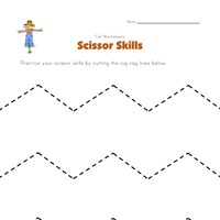 fall themed scissor practice worksheet