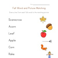 fall word picture match
