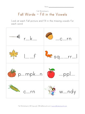 fall words worksheet