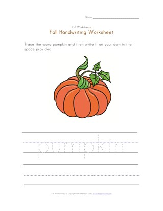 pumpkin handwriting practice worksheet