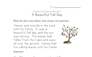 fall reading comprehension worksheet