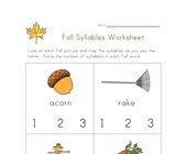 fall syllables worksheet