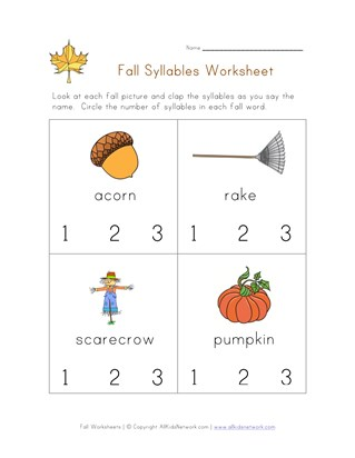 Fall Worksheets for Kids | All Kids Network