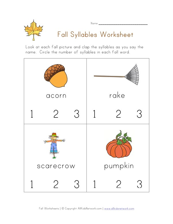 Fall Syllables Worksheet All Kids Network