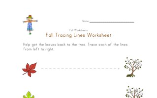 fall tracing lines worksheet