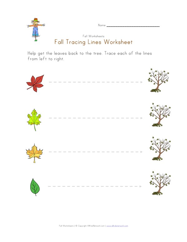 Preschool Reading & Writing Worksheets: Line Tracing: Fun with Horizontals