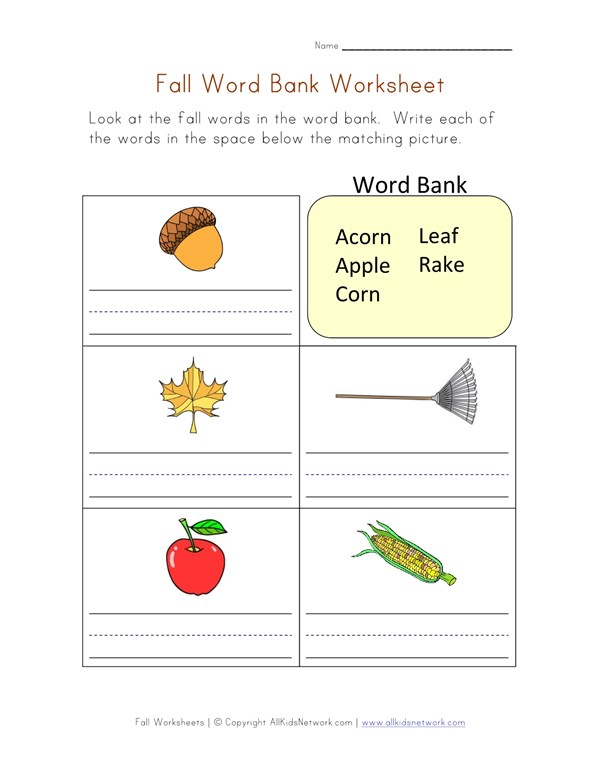 Fall Word Bank Worksheet | All Kids Network