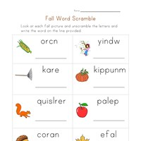 autumn word scramble