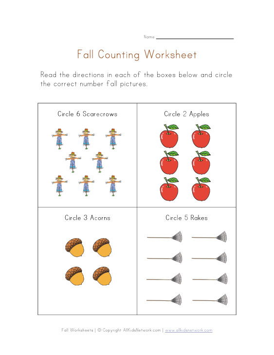 Number Names Worksheets fall worksheets : First Day Of Fall Worksheets For Kindergarten - busy busy miss ...