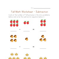 fall subtraction worksheet