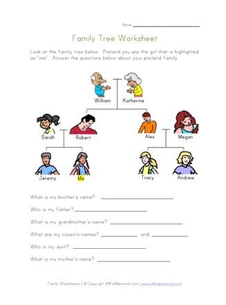 Family Worksheets for Kids | All Kids Network