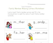 family missing letters worksheet