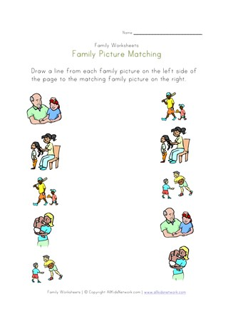 Family Picture Matching Worksheet All Kids Network