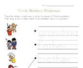 Family Worksheets for Kids