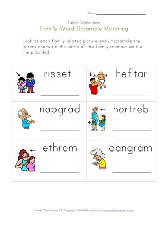 family word scramble worksheet
