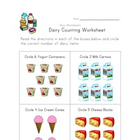 dairy counting worksheet