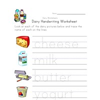 dairy handwriting worksheet