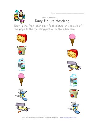 dairy picture matching worksheet