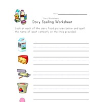 dairy spelling worksheet