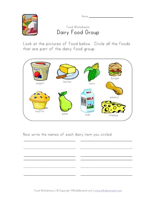 Dairy Food Group Worksheet | All Kids Network