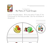 food groups plate worksheet