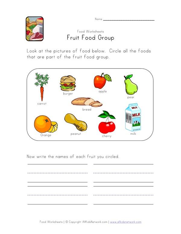 Fruit Food Group Worksheet | All Kids Network
