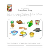 grains food group worksheet