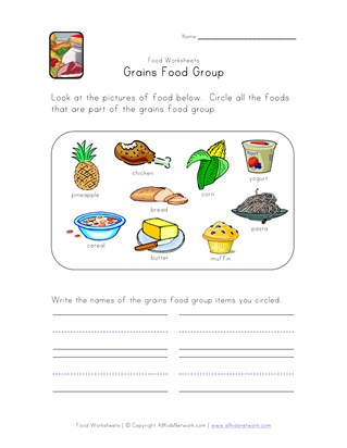 Food Groups Worksheets | All Kids Network