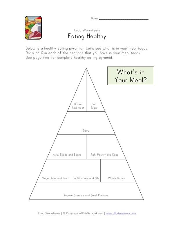 Eating Healthy Food Pyramid Worksheet All Kids Network