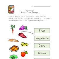 match food groups worksheet