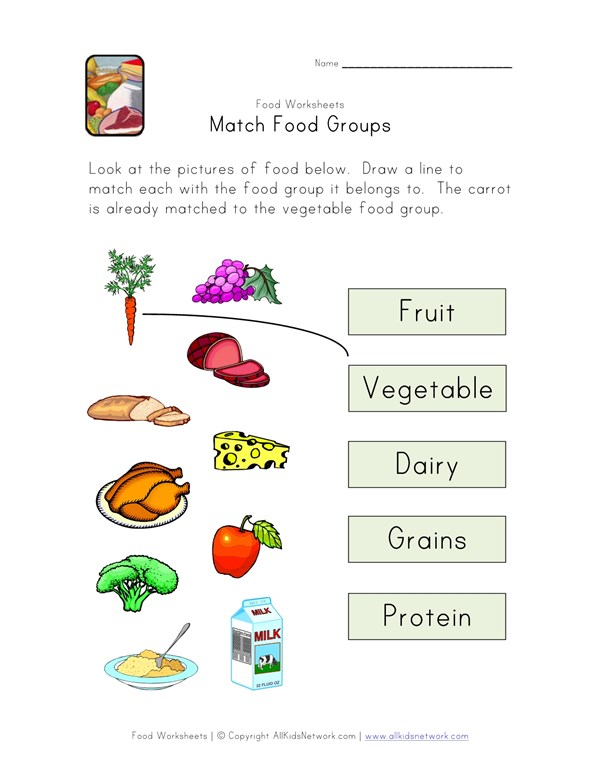 Match Food Groups Worksheet | All Kids Network