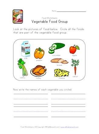 Vegetable Food Group Worksheet | All Kids Network