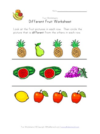 fruit different worksheet
