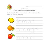 fruit writing worksheet