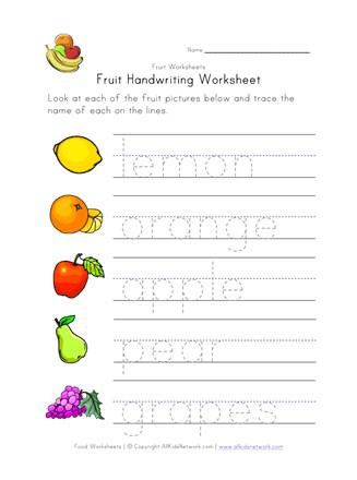 Fruit Writing Worksheet | All Kids Network