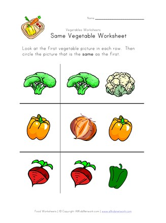 vegetable same worksheet
