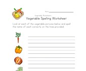 vegetable spelling worksheet