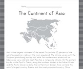Asia Reading Comprehension Worksheet
