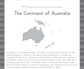 Australia Reading Comprehension Worksheet