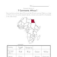 africa continent worksheet