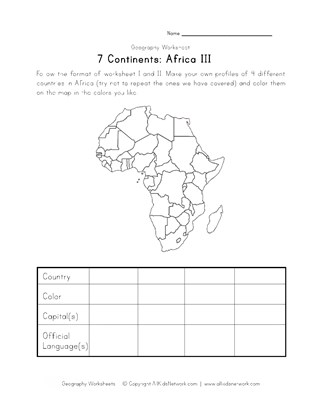 africa continent worksheet 3