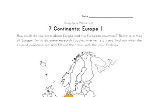 europe continent worksheet 1